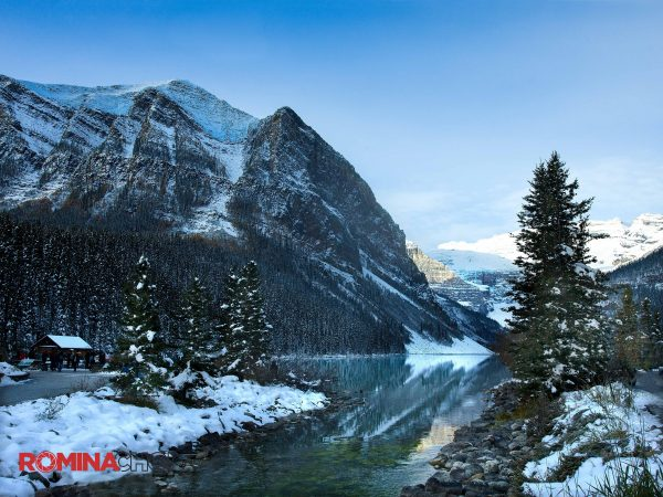 Snowy Mountain Trees Landscape